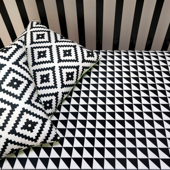 Triangle Fitted Crib Sheet Black And, Black And White Aztec Nursery Bedding