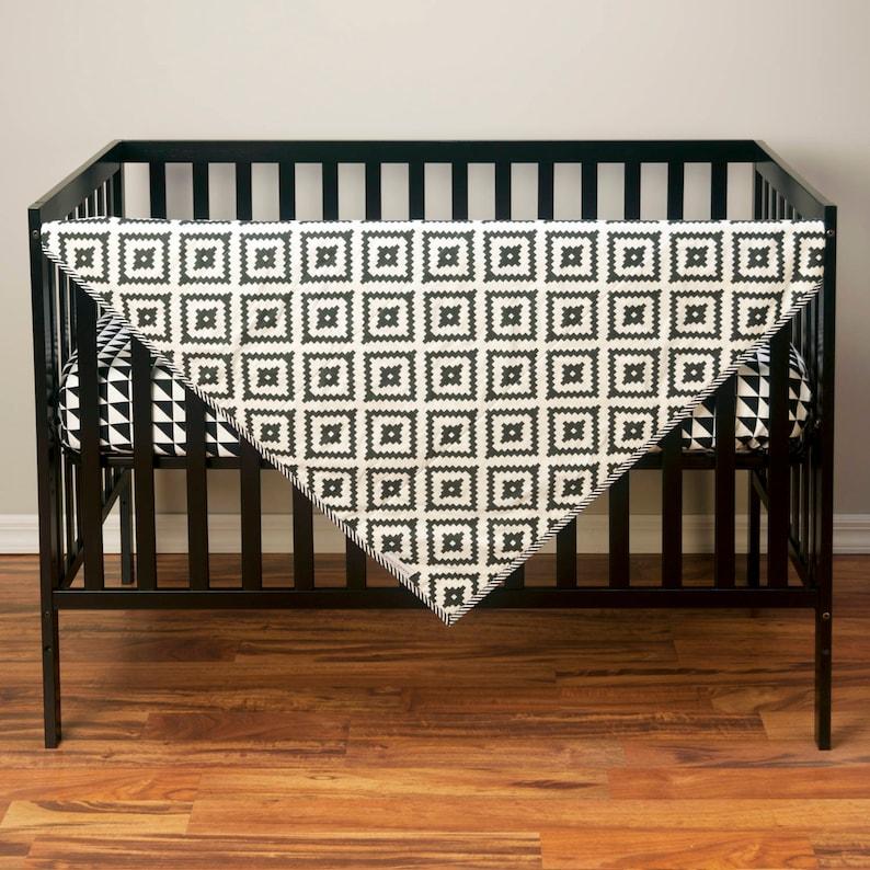 Black and White Baby Bedding Desert Southwest Nursery AZTEC CRIB QUILT Tribal Pattern Toddler Blanket Neutral Navajo Comforter