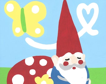 Paint by Number Kit - Sleepy Woodland Gnome Waiting for His Valentine (perfect for DIY paint parties)