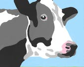 Paint by Number Kit - Black and White Holstein Dairy Cow (perfect for DIY paint parties)