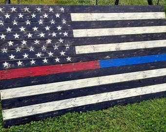 Thin Red Blue Line Flag Rustic Pallet Wooden American