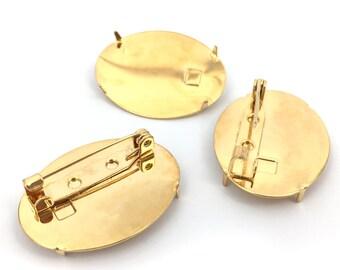 Oval Brooch Base, Brooch Pin Back, Brooch, Pin Blank, Cabochon Setting, Glue On Brooch, Brooch findings, 24x30, 6pcs