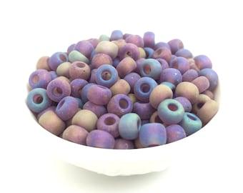 30g 1/0 Purple AB Czech Seed Bead, Matte Bead, Big Hole Bead, Vintage, DIY Craft, Bulk, Wholesale, 4915D