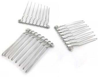10 Metal Hair Comb Blank, 8 Teeth, Bridal, Wedding, DIY Hair Accessory, RN