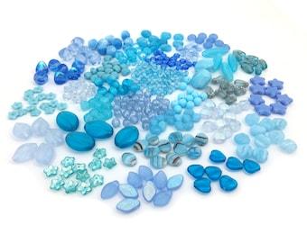 170g Czech Bead Mix, Bead Soup, Assorted Glass Bead, Blue Bead, DIY Craft, Jewelry Making, Bulk, Wholesale, BM010