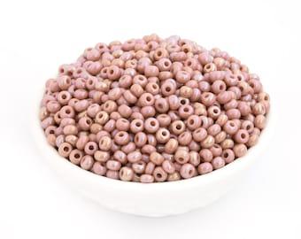 30g 6/0 Czech Seed Bead Dusty Rose Pink AB, Opaque Glass, Rocailles, DIY Craft, Bulk, Wholesale, 4791G