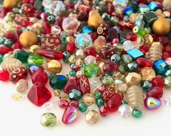 Glass Bead Mix Red Green White Bead Soup Mix Loose Bead Lot Jewelry Making Beads Glass Beads Christmas DIY Jewelry Kit