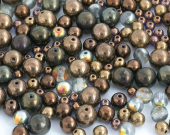 60g Assorted Czech Glass Bead Mix, Bronze Bead, Round Glass Bead, Vintage Bead, Druk Bead, Smooth Round, Pressed Bead, 4-8mm, BM067