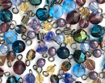 7f1734949 Bulk Lot 100 Dangle Bead Charm, Assorted Bead Mix, Bead Soup, Czech Bead  Mix, Purple Blue, DIY Jewelry Making Charm, Wholesale Charm, 7811BD
