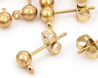 Ball Post Earring, Ball Stud Earring With Loop, Stainless Steel Post, DIY Earring, Gold Plated, Earring Findings, Wholesale