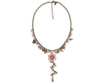 Vintage Victorian Flower Necklace, Filigree Necklace, Dangle Drop Necklace, Leaf Bird Charm Necklace-Pink Necklace #8689NG