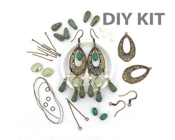 5107587ed38bc DIY Earring Kit, Jewelry Making Kit, DIY Craft, Green Teardrop Earring,  Hook Earring, Freshwater Pearl, Filigree, Dangle, Chandelier, EP013