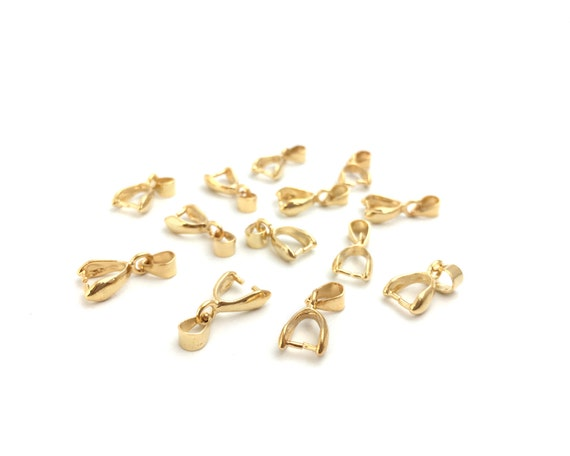 20Pcs Brass Pendant Beads Pinch Bail Rose Gold Plated DIY Jewelry-15mm
