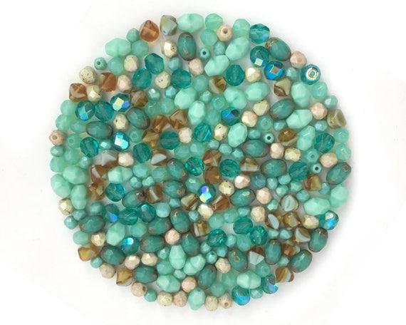 BM045 Blue Teardrop Bead Mix Bead Soup Small Drop Bead 25g Assorted Bead Jewelry Making Bulk Czech Bead Mixed Lot Wholesale