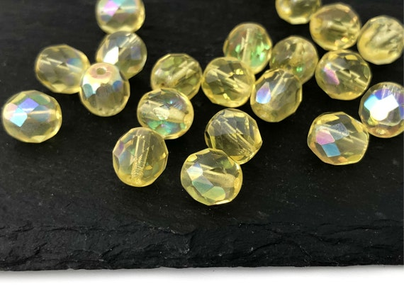 50 Czech Fire Polished Glass Beads Topaz Yellow Gold Round Faceted Spacer 6mm