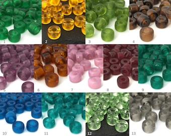 30 Large Hole Beads, 9mm Pony Beads, Macrame Bead, Big Hole Crow Bead, Czech Glass Bead, DIY Craft Bead, Jewelry Making Bead, 6x9, 13 Colors