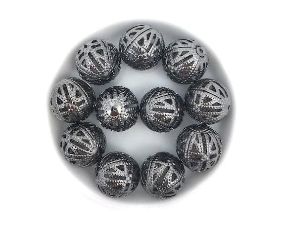 "10 Perles Spacers /""RONDELLE CREUSE/"" Métal BRONZE 13 MM"