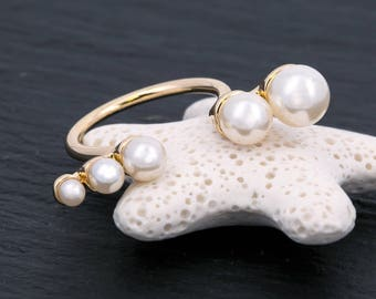 Adjustable ring, Gold Plated, White Pearl Ring, Open Ring, Fashion Ring, Girls Ring, Teenage Girl Gift, Gift For Her, 12278RH