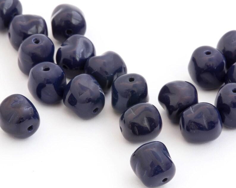 DIY Jewelry Nugget Bead Czech Pressed Glass Bead Geometric Bead 1336C 20pcs Bohemian Bead Dark Blue Spacer Bead 8x9