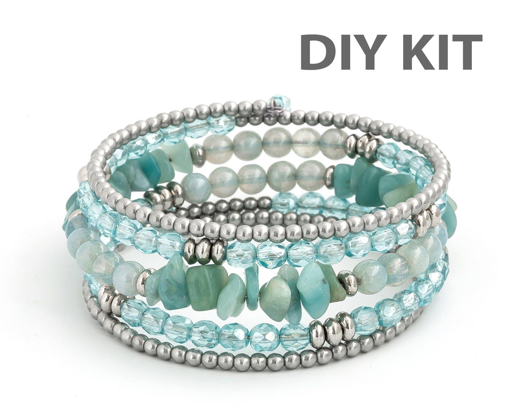DIY Bracelet Kit Amazonite Bracelet Memory Wire Bracelet   Etsy