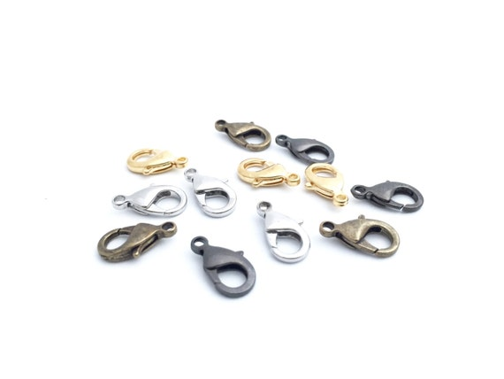 10//20//30x Large Rhodium Plated Lobster Clasps Parrot Claw Clips Jewelry Findings
