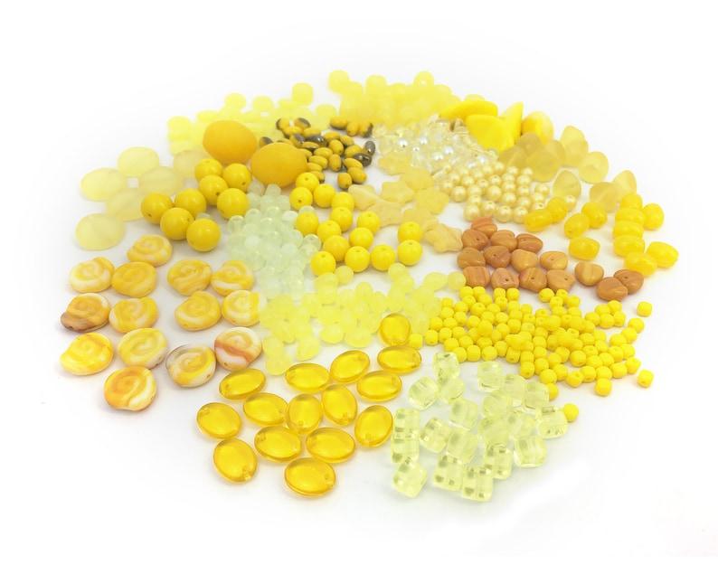 Assorted Glass Bead Jewelry Making Wholesale Yellow Bead Mix DIY Craft Bulk 170g Czech Bead Mix Bead Soup BM016