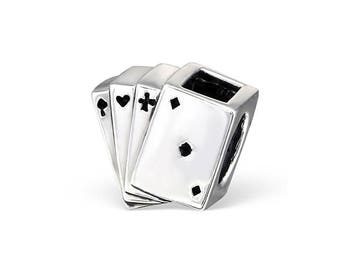 Silver Tone  Playing Cards         3d Charms X5