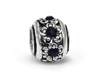 bbdce1b87 Retro Tibetan Lampwork Black Crystal Charm, fits Pandora Bracelets