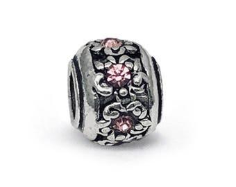 a499f170f Retro Tibetan Lampwork Pink Crystal Charm, fits Pandora Bracelets