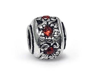 71c6284d5 Retro Tibetan Lampwork Red Crystal Charm, fits Pandora Bracelets