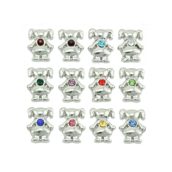 GIRL BIRTHSTONE FLOATING CHARMS FITS ORIGAMI OWL LOCKETS