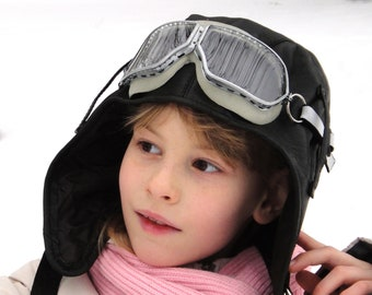 7b35a12bda2 Pilot helmet Small and Large size hats custom Kids aviator Hat   goggles  glasses Black sheep leather Flying helmet Baby pilot hat