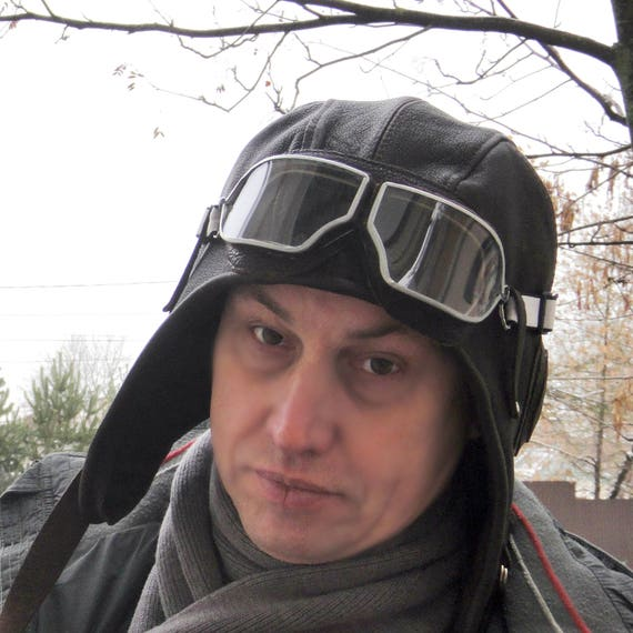 Leather helmet hat Aviator hat cap Large size Custom Brown fur  62d0c7de88be
