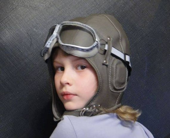 Leather helmet Aviator hat with large headphones /& goggles Childrens hat Spring or Autumn pilot hat Baby boy pilot helmet Christmas gift