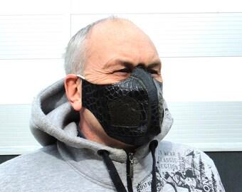 Mouth mask, Black leather mask with filter pocket, Half face mask