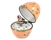 Orange musical egg box with bird. the letter to Elise. Customizable object original decorative gift. French art crafts