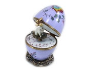 Romantic waltz in purple hand-painted decorativ music egg Limoges. butterfly paint. Handcraft in France. Siames cat miniatures.