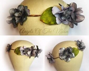 Gray flower crown, bridal headpiece, woodland wedding, charcoal flower crown, leaf crown, woodland hair wreath, circlet, rustic flower crown
