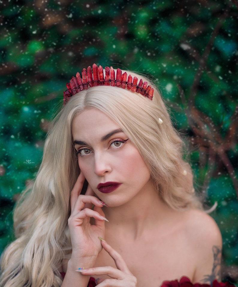The Von Teese Crystal Crown Raw Deep Red Crystal Quartz Tiara image 0
