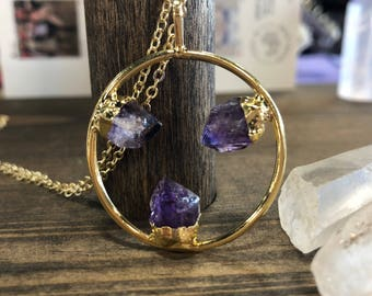 READY TO SHIP amethyst circle necklace on gold plated chain