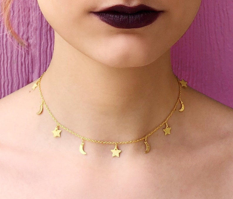 Crescent Moon Fine Jewelry Boho Night Sky Gold Plated Sterling Silver Star /& Moon Choker Constellation Festival Choker Witch Zodiac