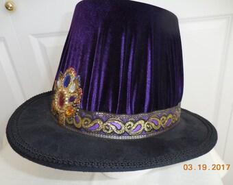 0b32bdc9c83 New adult Renaissance Medieval Elizabethan purple velvet tall hat top hat  cap costume size L-X large