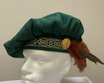 New adult men/'s Renaissance Medieval Tudor Elizabethan deep red velvet royal tall hat top hat cap costume size L-X large