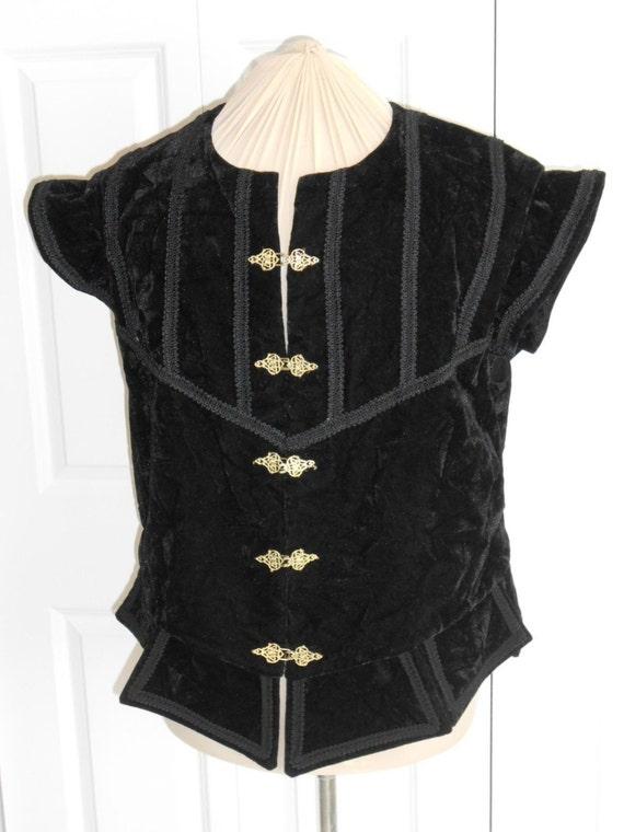 New Renaissance Tudor Medieval Black Noble Court Vest Jerkin Doublet Costume MGEAvbU