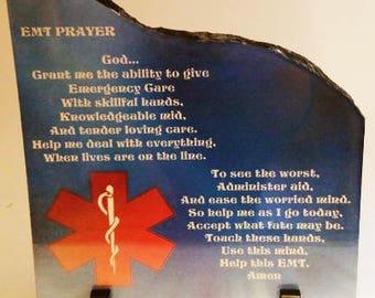 Ems Gifts, Emt Gifts, Ems Prayer, Emt Prayer, Emt Plaque, Ems Plaque, Emt Slate, Ems Slate, Emt Gift, Ems Gift, 7.6 x 7.6 Left Taper Slate