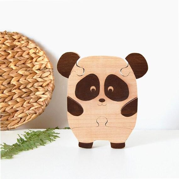 puzzle en bois pour b b enfant panda kawaii etsy. Black Bedroom Furniture Sets. Home Design Ideas