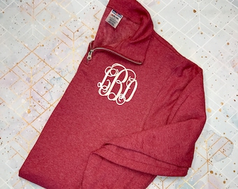 Quarter Zip Monogrammed Sweatshirt, 1/4 Zip Monogram Pullover Sweater, Gift for Her