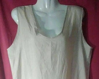 Bye Bye Love - Slip Dress 60s/70s ILGWU Gold Flapper Style with Drop Waist & Pleated Skirt Sz 14