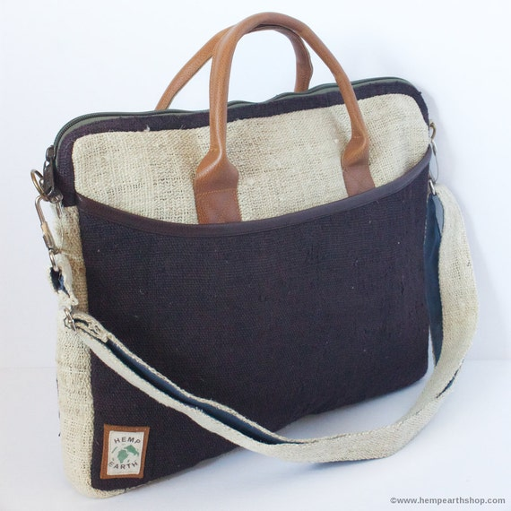Laptop Bag 15 Side Bag Briefcase Organic Hemp Natural Leather Stylish Fashion