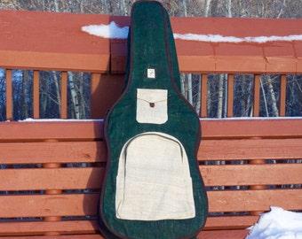 Guitar Bag Gig Bag Case Pure Hemp Backpack Style Organic Leather Natural Lifestyle Hippie Boho Fashion